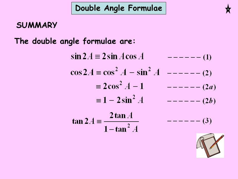 Double Angle Formulae SUMMARY The double angle formulae are: