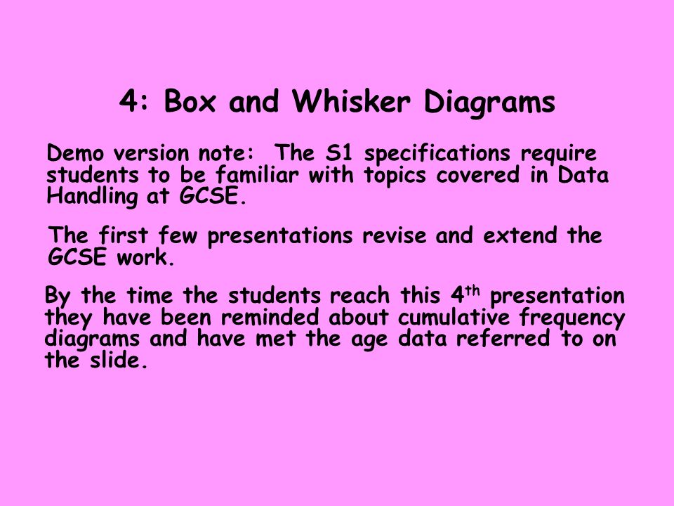 4: Box and Whisker Diagrams