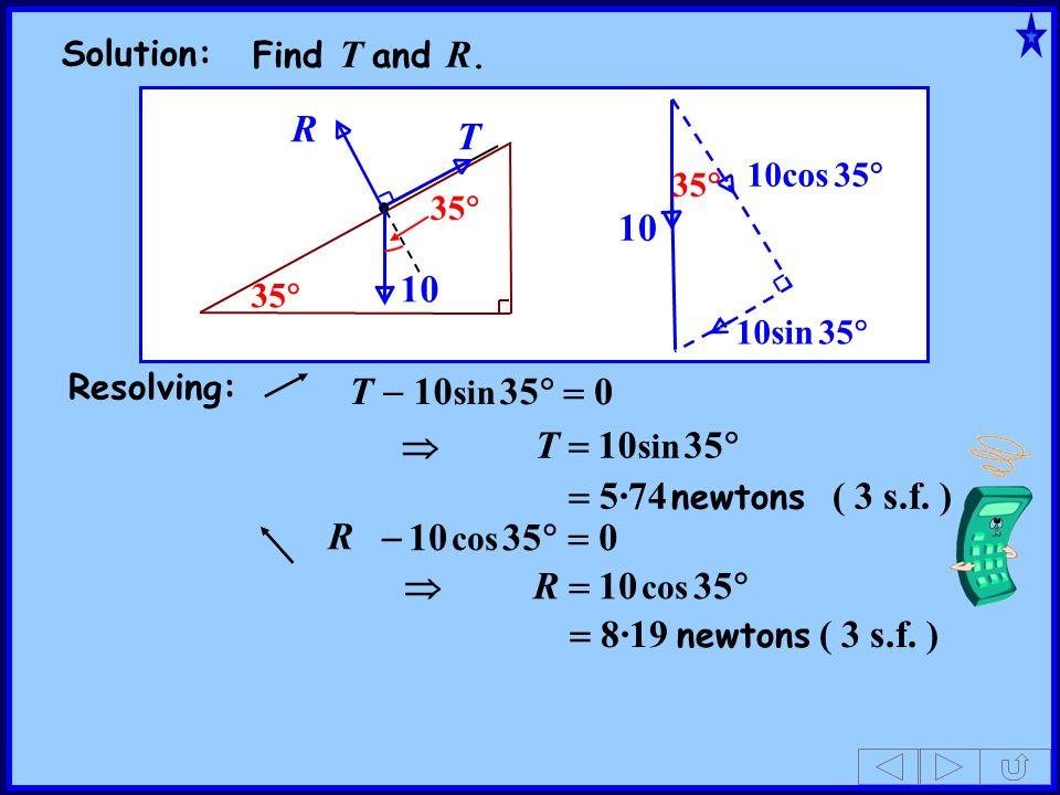 10 T R 10 T - 10sin 35 = 0  T = 10sin 35 = 5·74 newtons ( 3 s.f. )