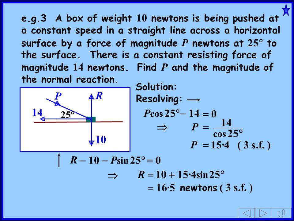 P 14 R Pcos 25 - 14 = 0 14  P = 10 P = 15·4 ( 3 s.f. ) R - 10