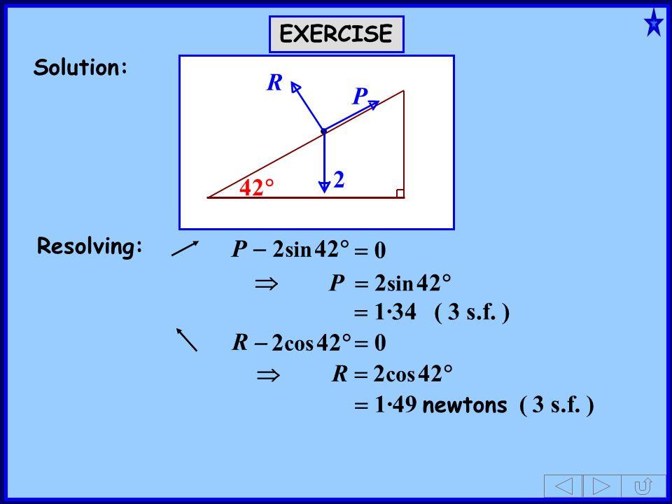42 2 P R P - 2sin 42 = 0  P = 2sin 42 = 1·34 ( 3 s.f. ) R