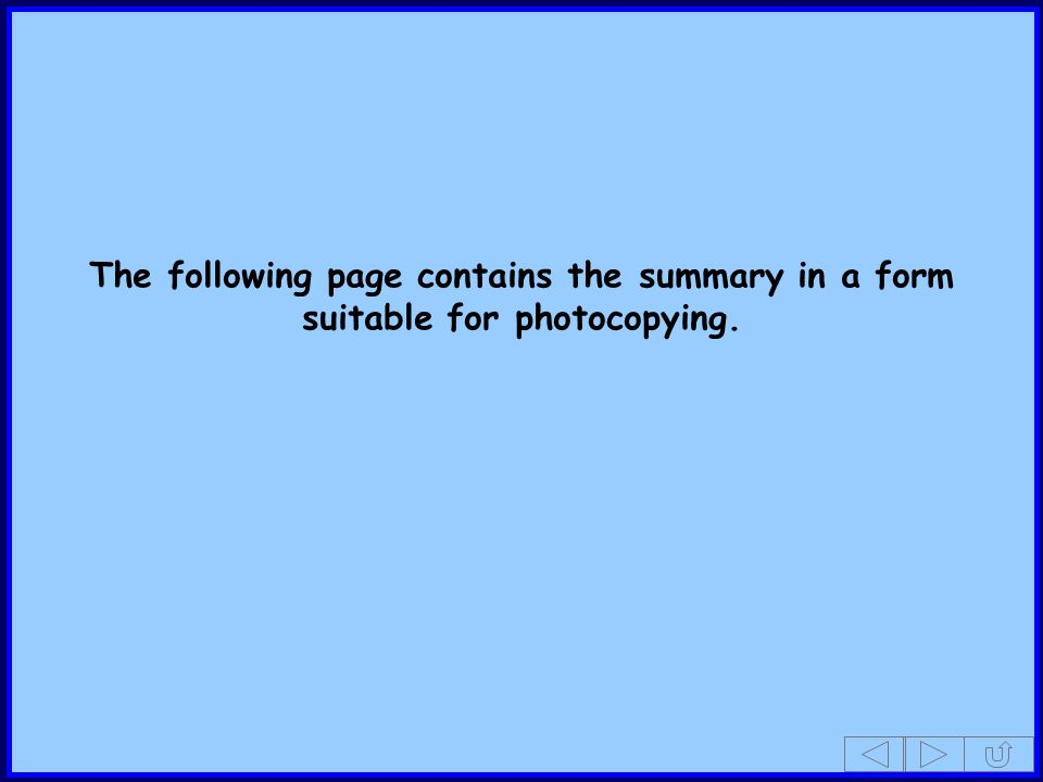 The following page contains the summary in a form suitable for photocopying.