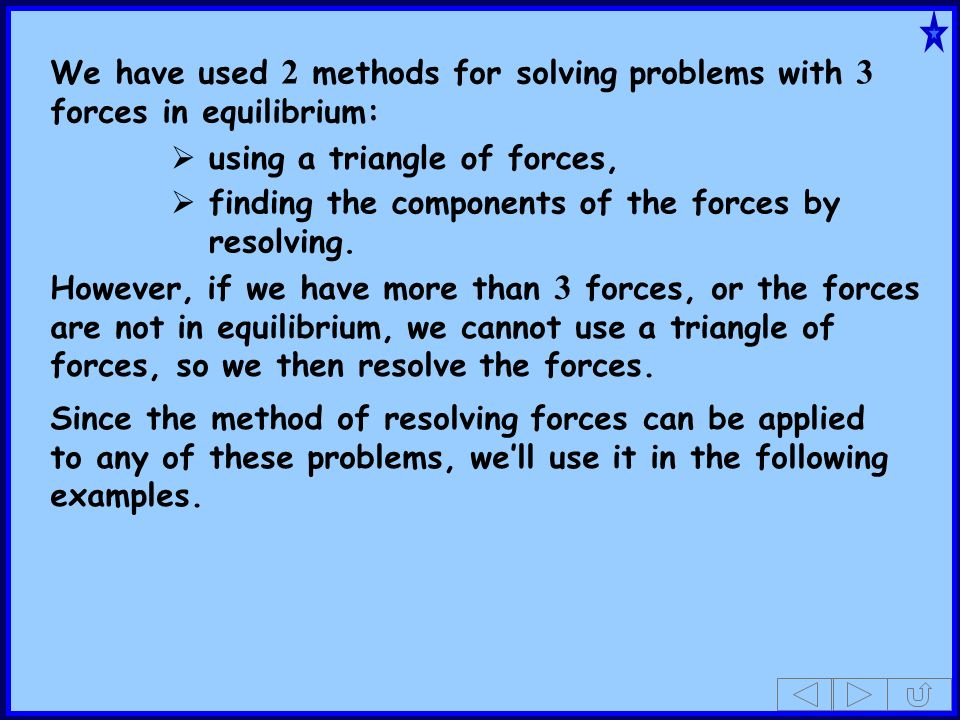 We have used 2 methods for solving problems with 3 forces in equilibrium: