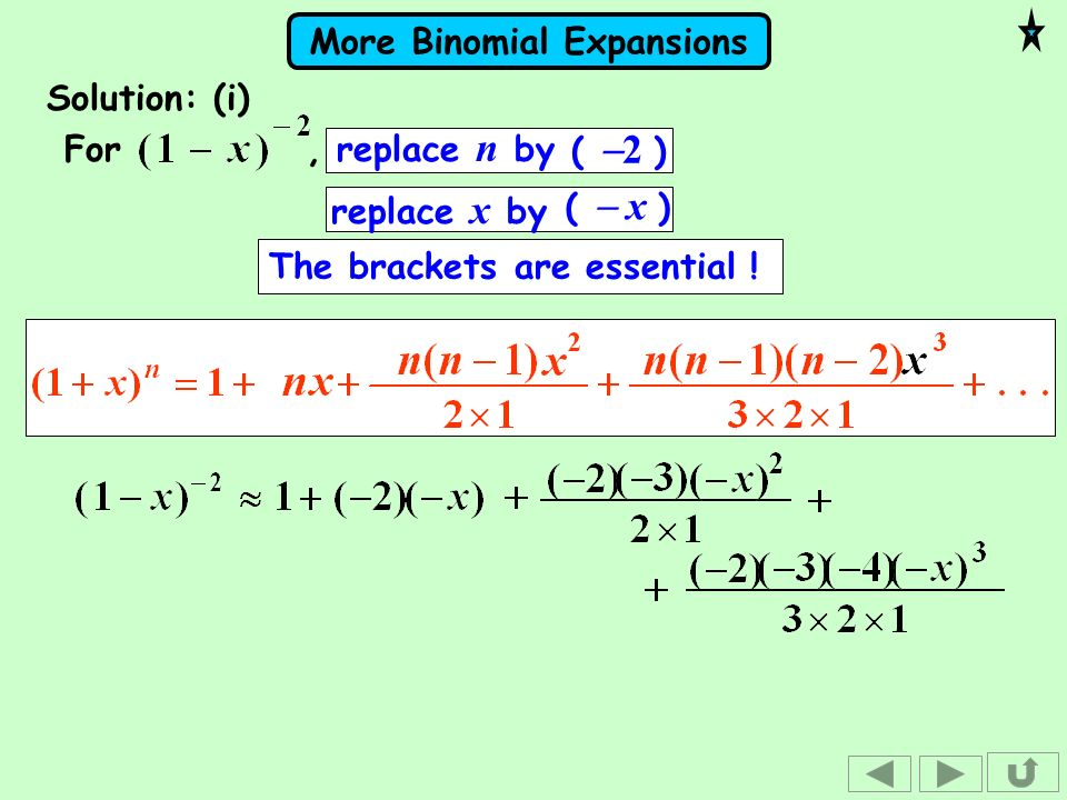Solution: (i)For , replace n by.( -2 ) replace x by.