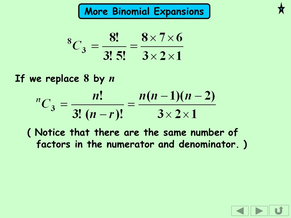 If we replace 8 by n( Notice that there are the same number of factors in the numerator and denominator.