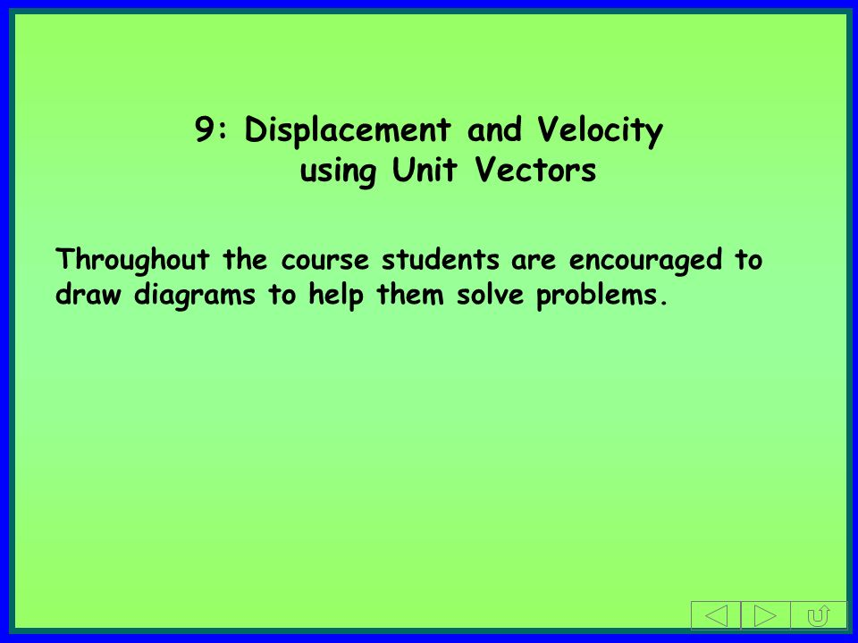 9: Displacement and Velocity using Unit Vectors