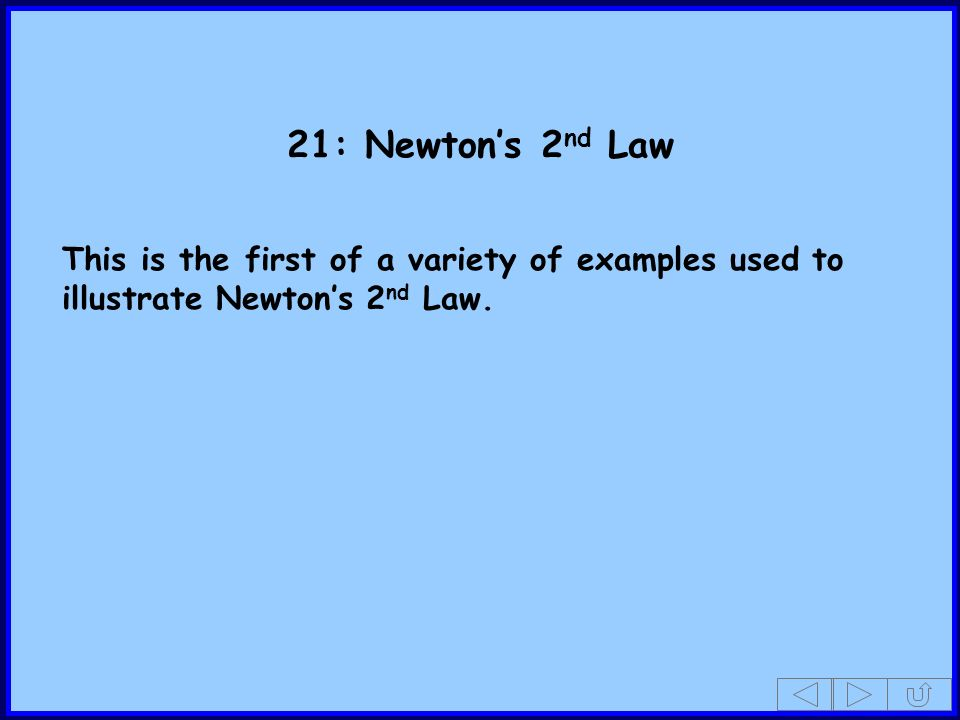 21: Newton's 2nd Law This is the first of a variety of examples used to illustrate Newton's 2nd Law.