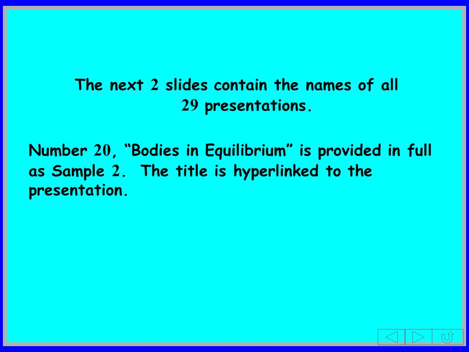 The next 2 slides contain the names of all 29 presentations.