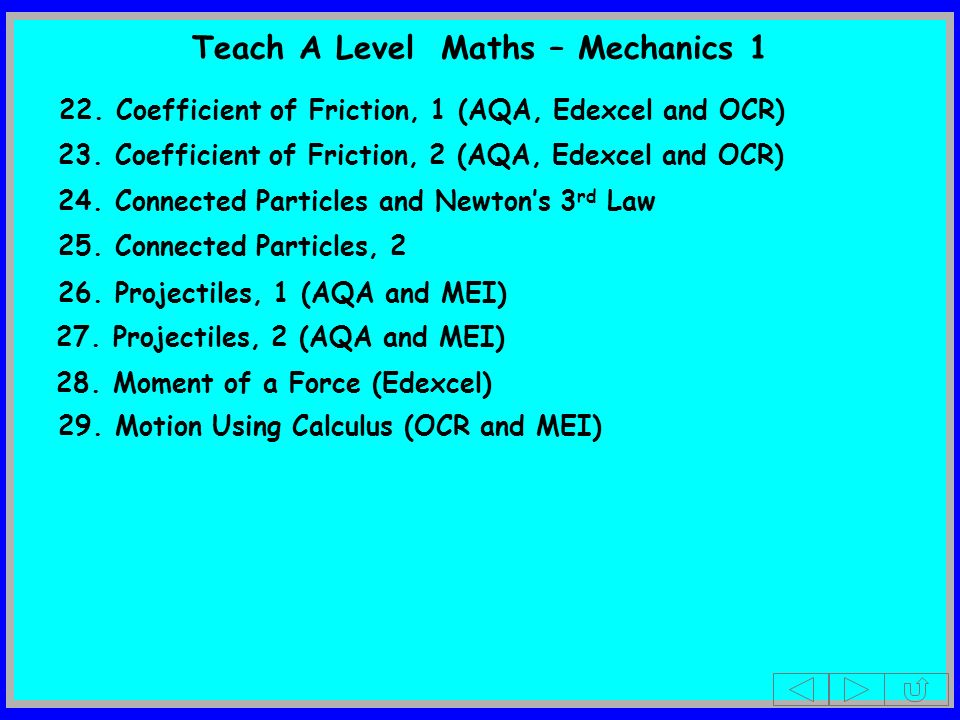 Teach A Level Maths – Mechanics 1