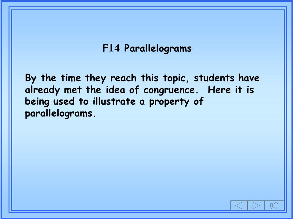 F14 Parallelograms