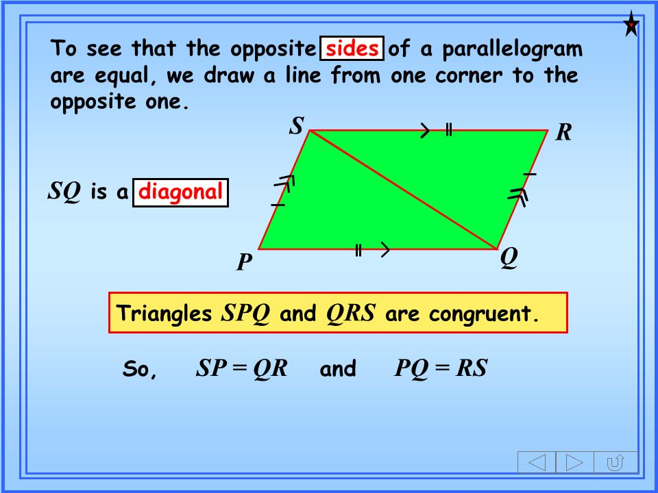 To see that the opposite sides of a parallelogram are equal, we draw a line from one corner to the opposite one.
