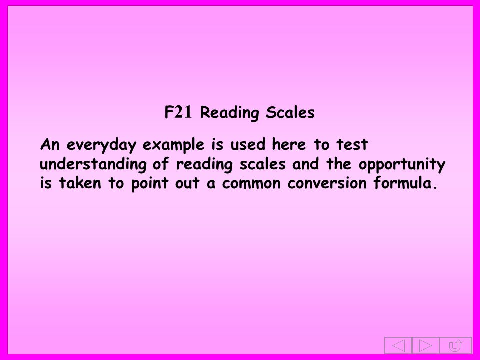 F21 Reading Scales