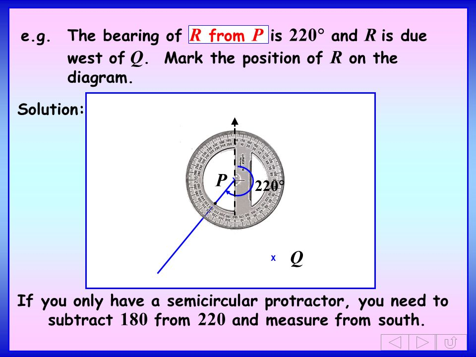 e. g. The bearing of R from P is 220 and R is due west of Q
