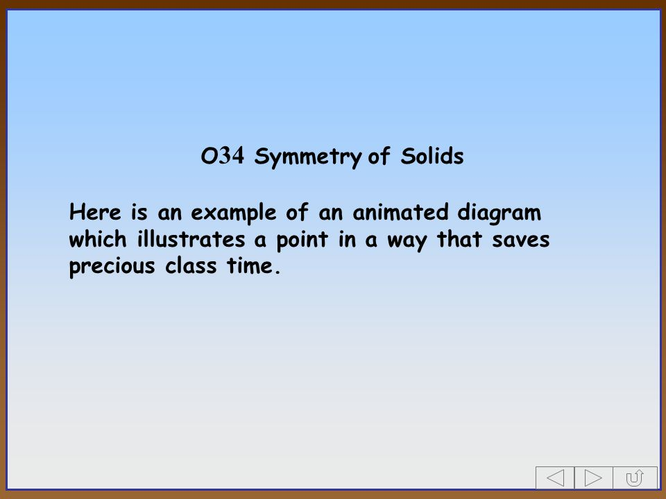 O34 Symmetry of Solids Here is an example of an animated diagram which illustrates a point in a way that saves precious class time.