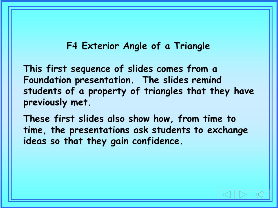 F4 Exterior Angle of a Triangle