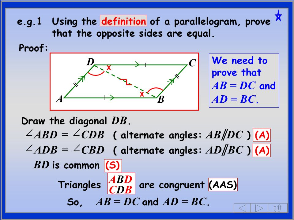 ABD = CDB ( alternate angles: AB DC ) (A)