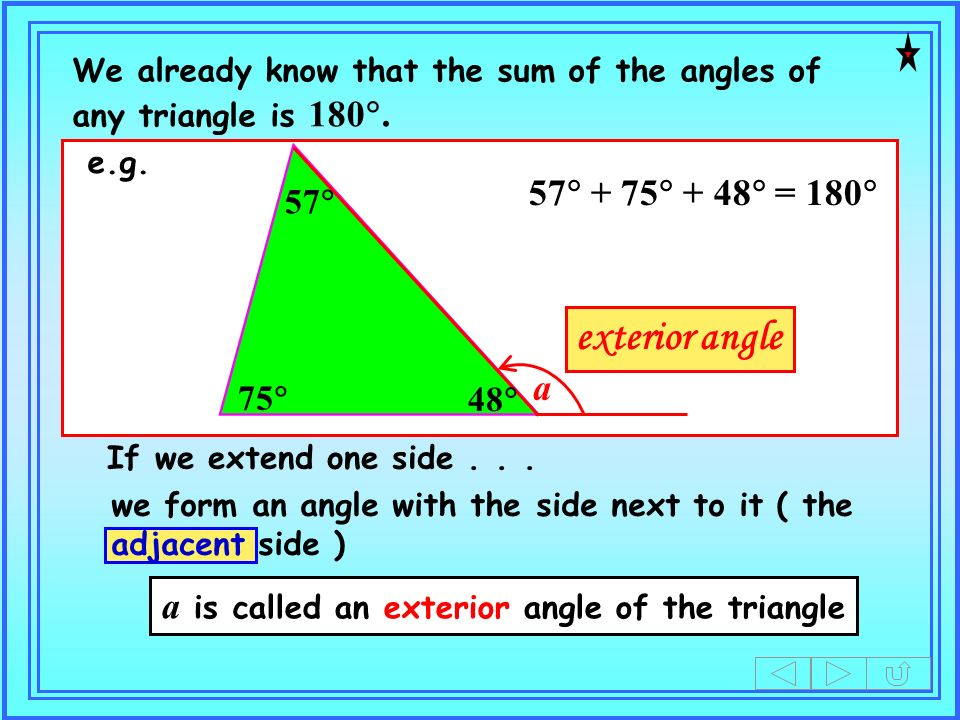 a is called an exterior angle of the triangle