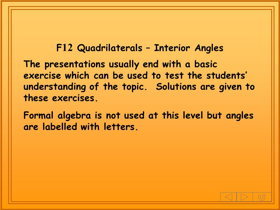 F12 Quadrilaterals – Interior Angles