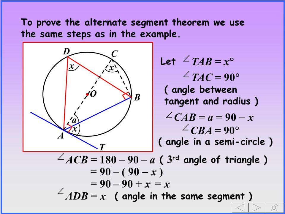 TAB = x TAC = 90 CAB = a = 90 - x CBA = 90 ACB = 180 – 90 – a
