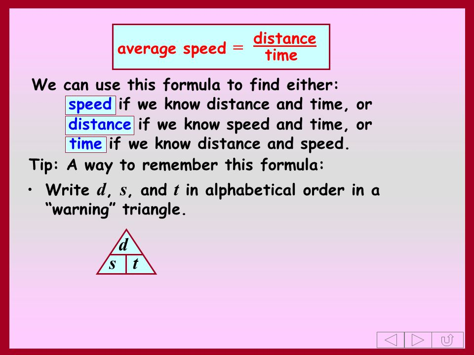 d s t distance average speed = time