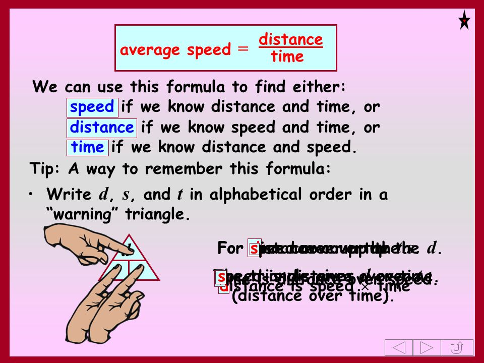 d s t average speed = distance time