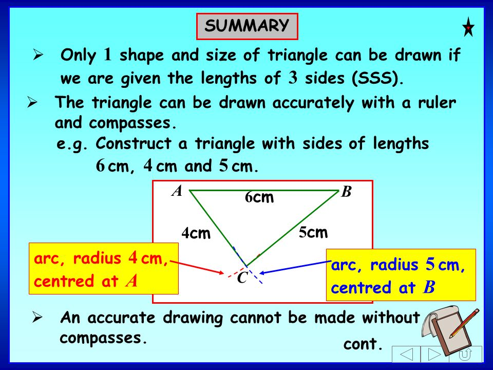 SUMMARYOnly 1 shape and size of triangle can be drawn if we are given the lengths of 3 sides (SSS).