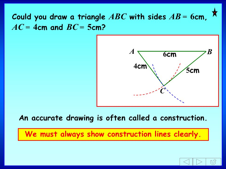 An accurate drawing is often called a construction.