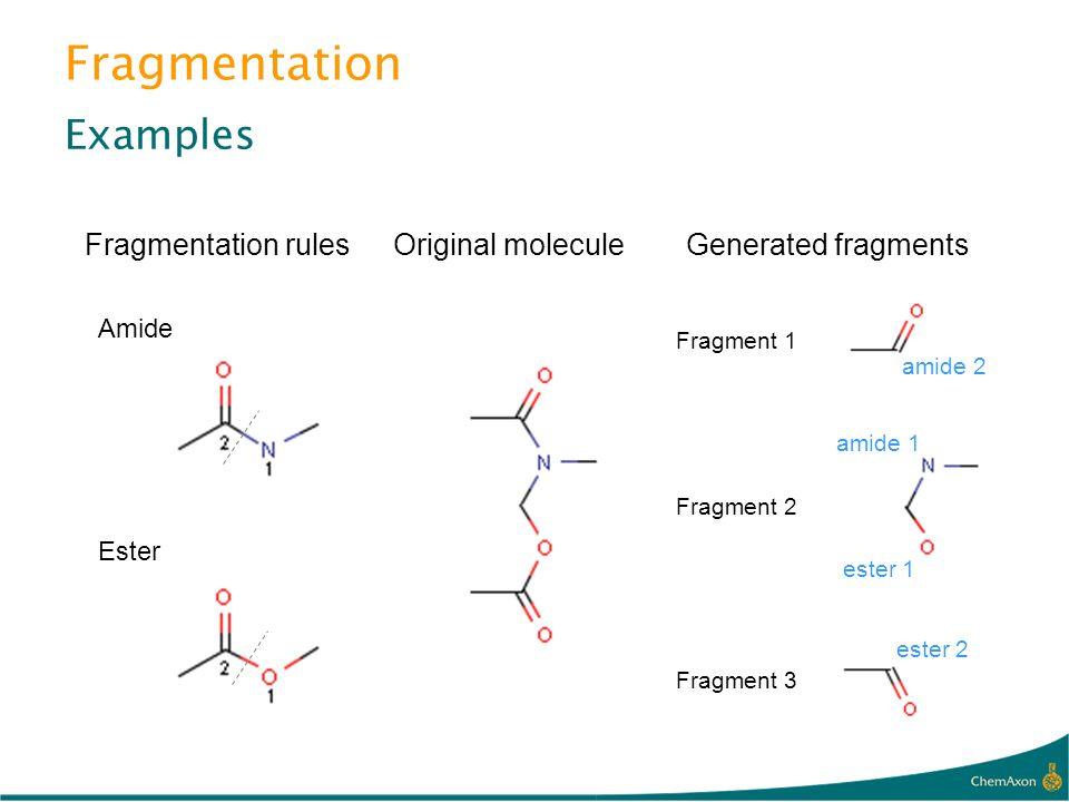 Fragmentation Examples Fragmentation rules Original molecule