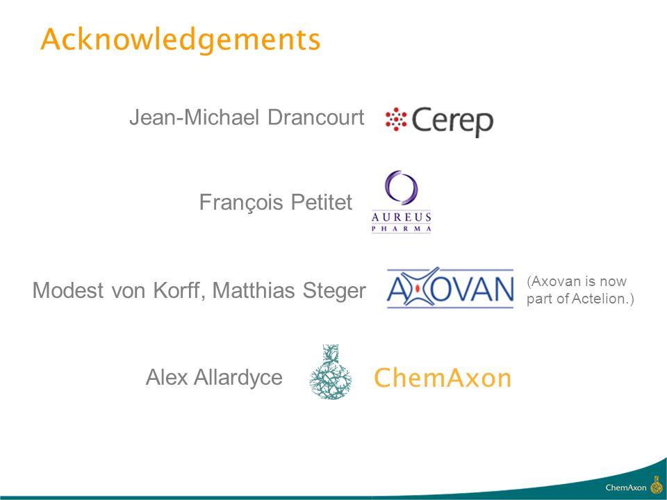 Acknowledgements ChemAxon Jean-Michael Drancourt François Petitet