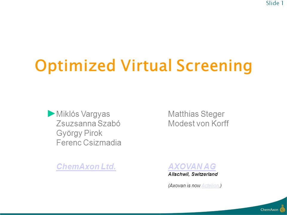 Optimized Virtual Screening