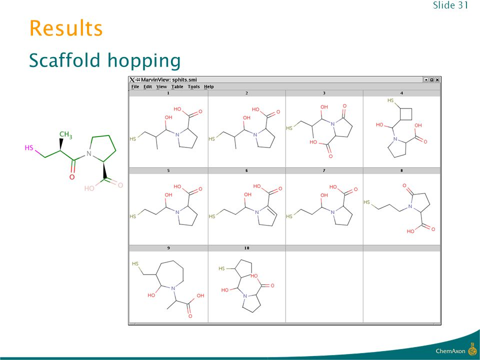 Results Scaffold hopping Slide 31