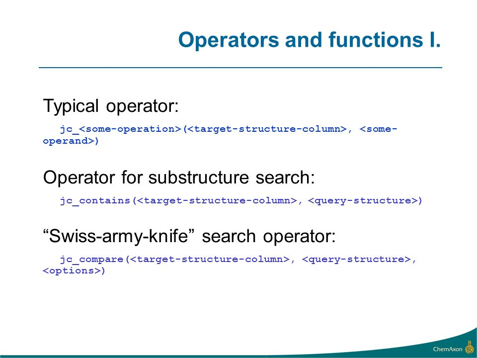 Operators and functions I.