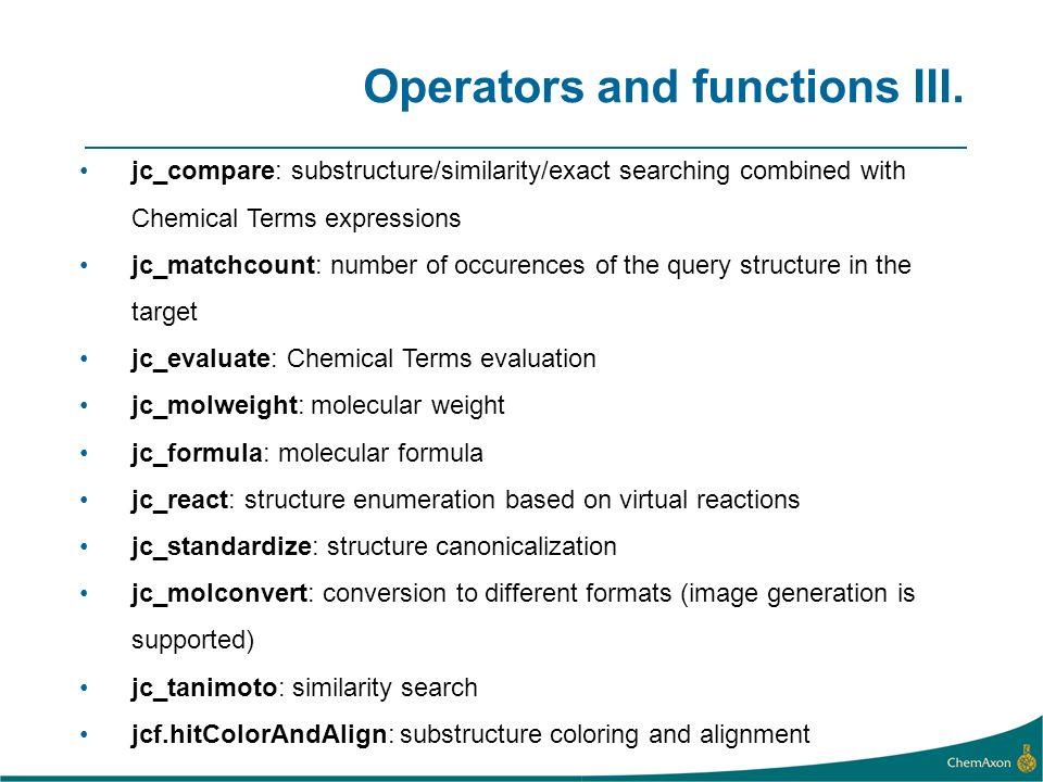 Operators and functions III.