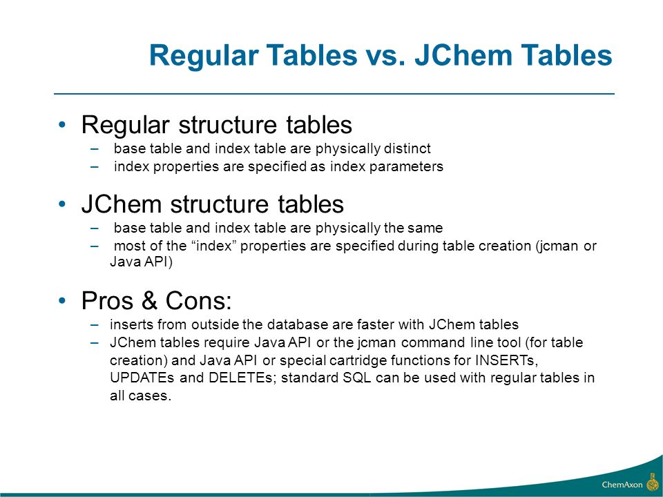Regular Tables vs. JChem Tables
