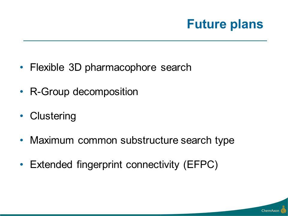 Future plans Flexible 3D pharmacophore search R-Group decomposition