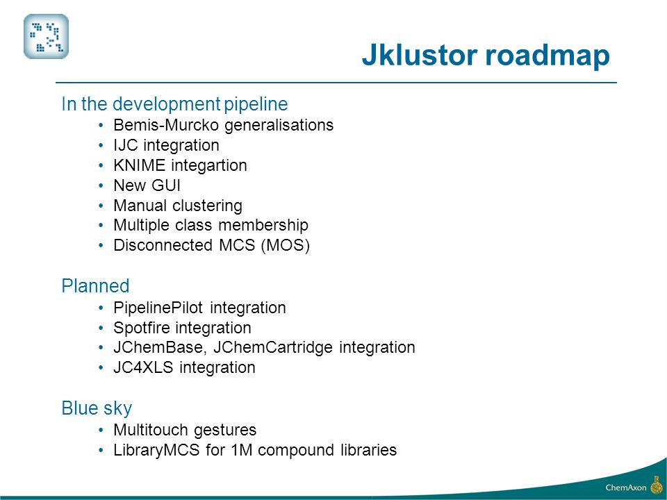 Jklustor roadmap In the development pipeline Planned Blue sky