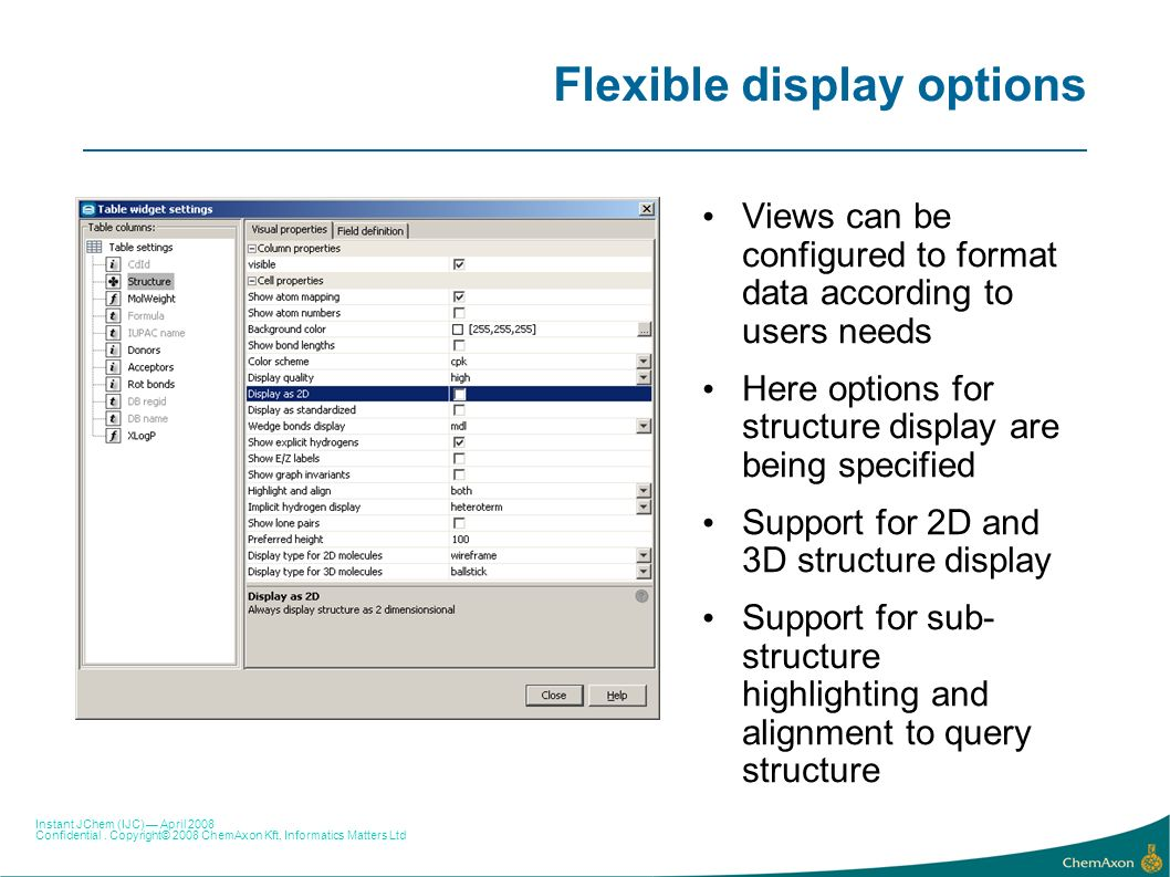 Flexible display options