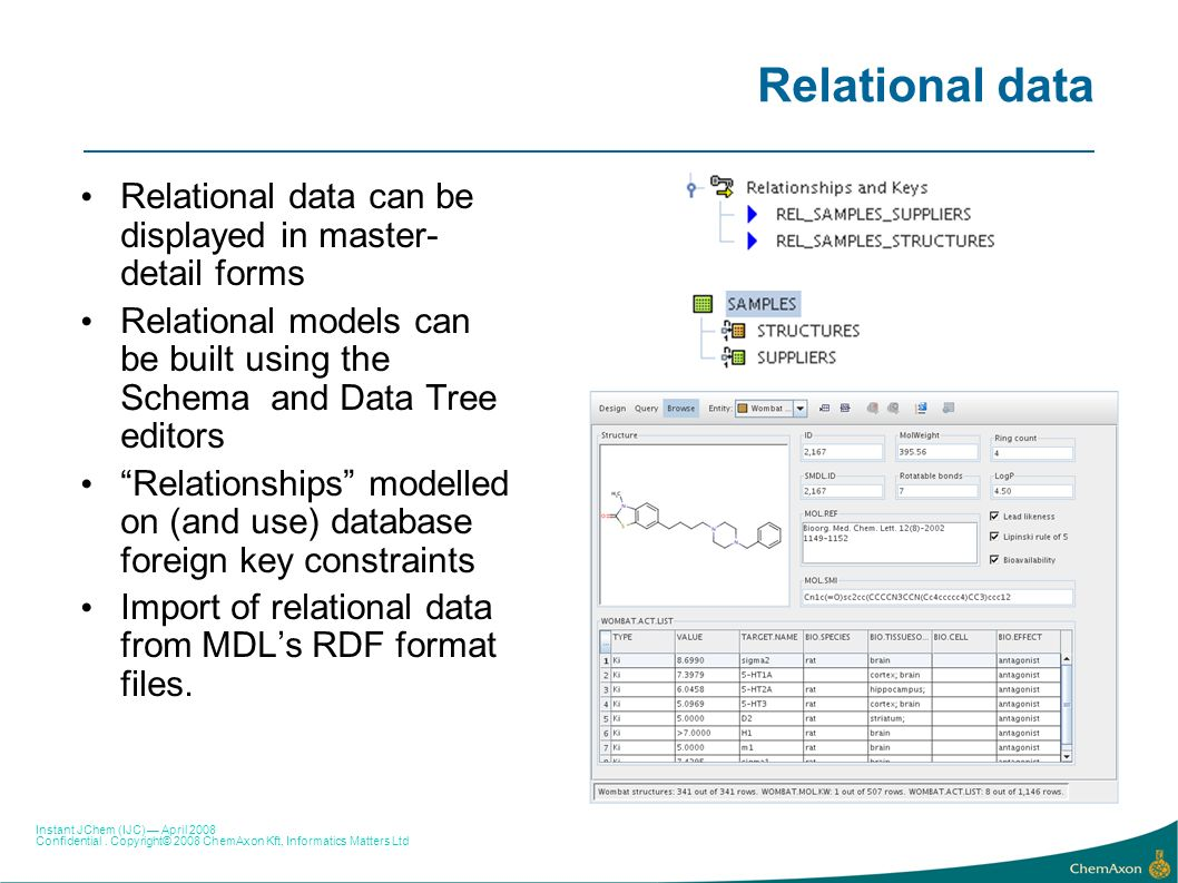 Relational data Relational data can be displayed in master-detail forms. Relational models can be built using the Schema and Data Tree editors.