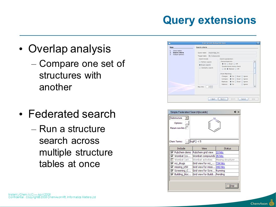 Query extensions Overlap analysis Federated search