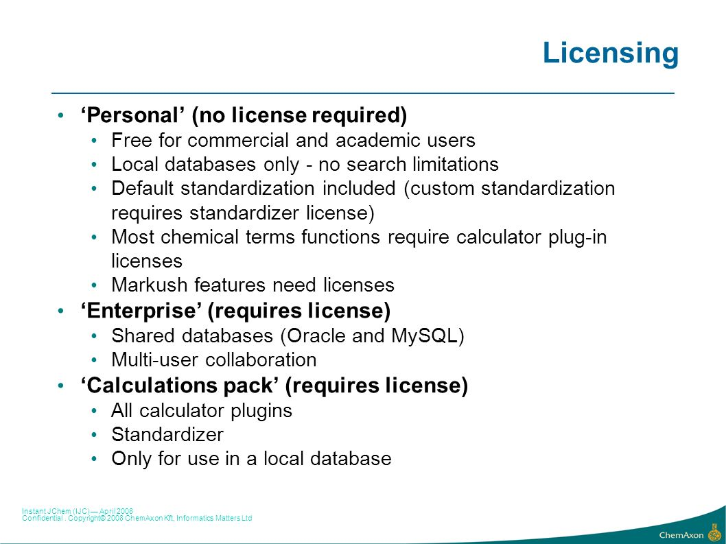 Licensing 'Personal' (no license required)