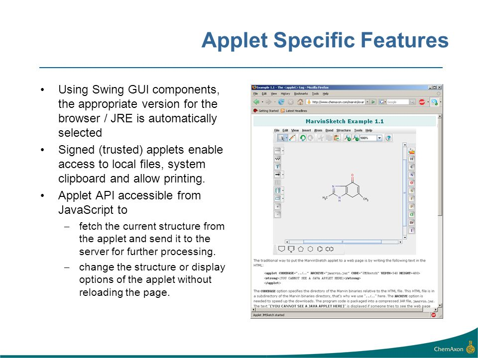 Applet Specific Features