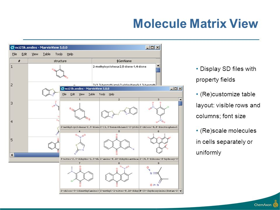 Molecule Matrix View Display SD files with property fields. (Re)customize table layout: visible rows and columns; font size.