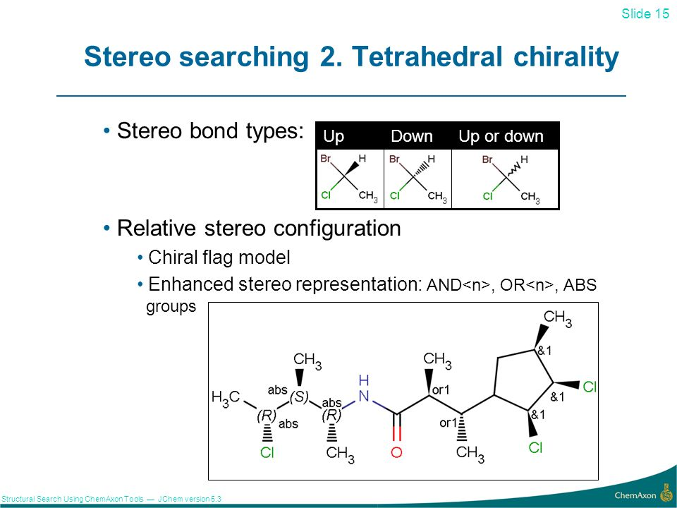 Stereo searching 2. Tetrahedral chirality