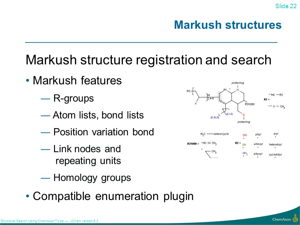 Markush structure registration and search