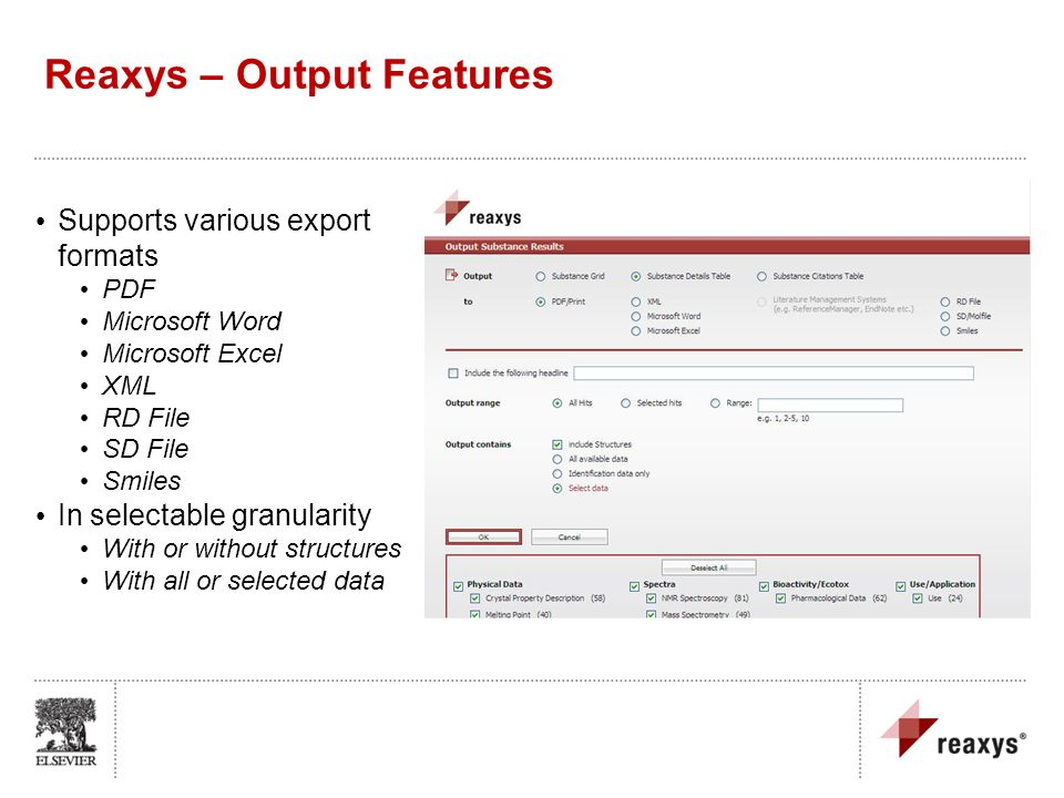 Reaxys – Output Features