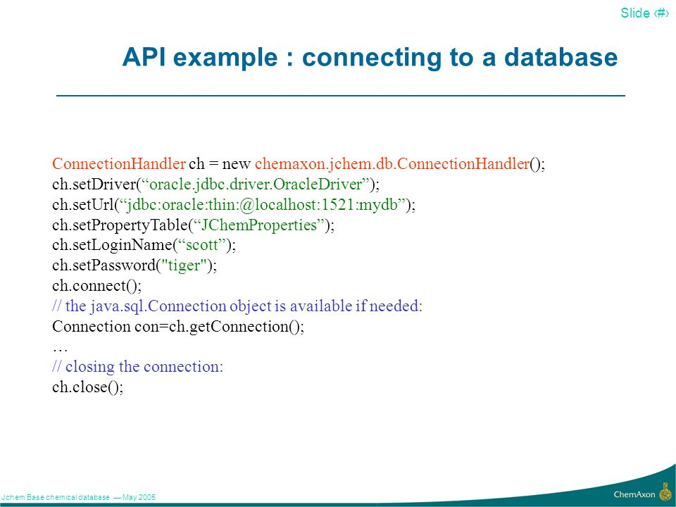 API example : connecting to a database