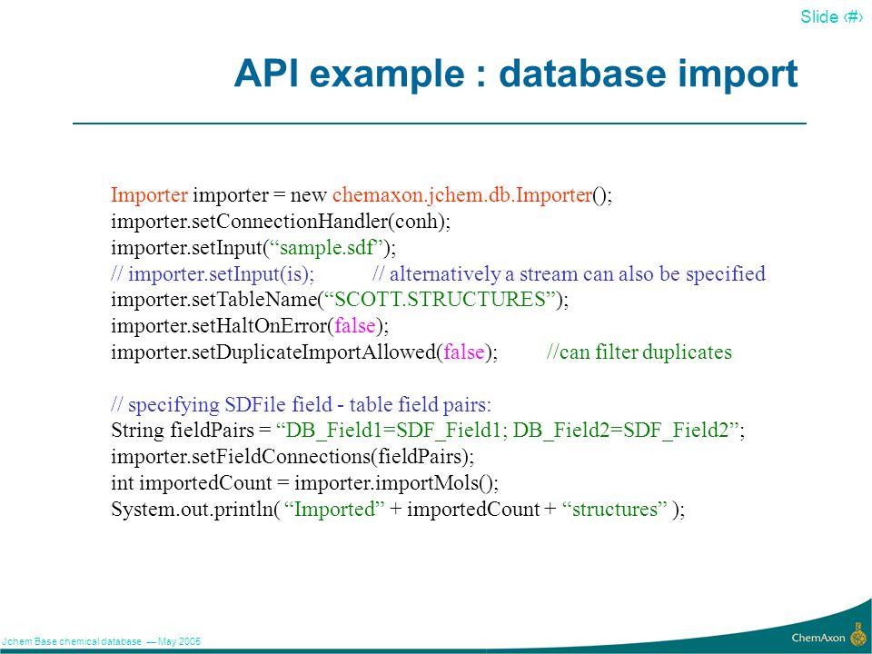 API example : database import