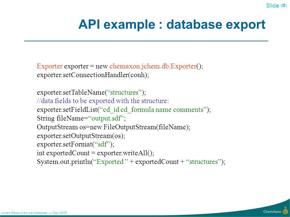 API example : database export