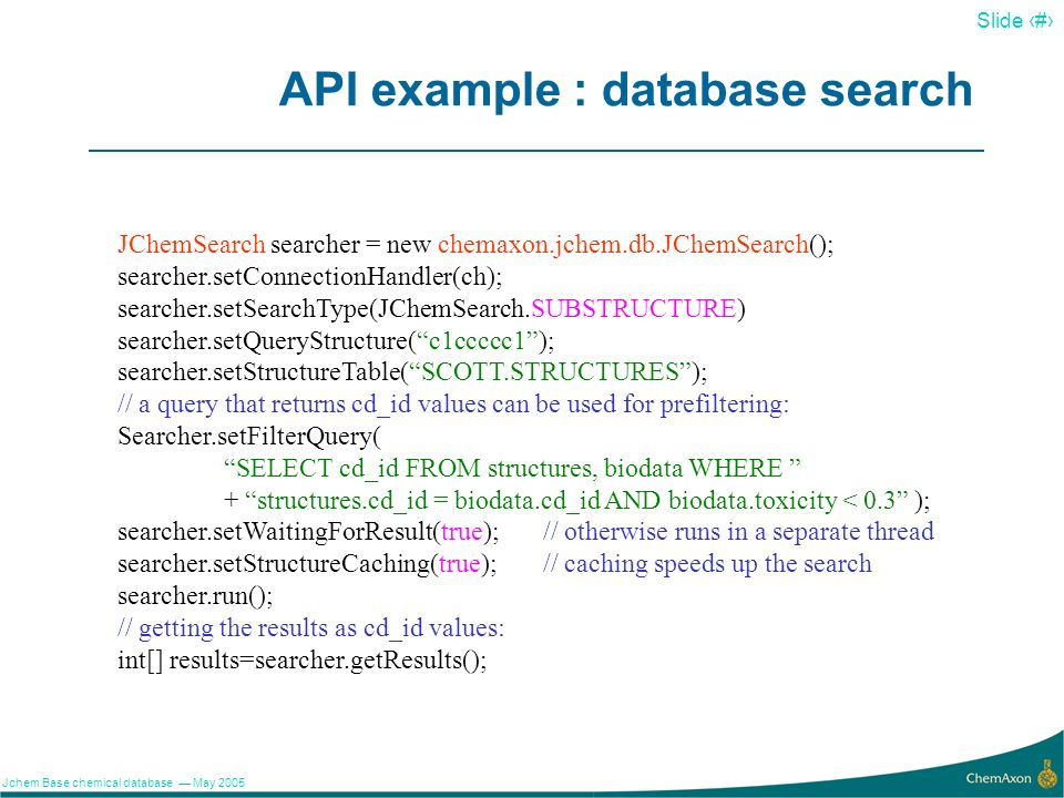 API example : database search
