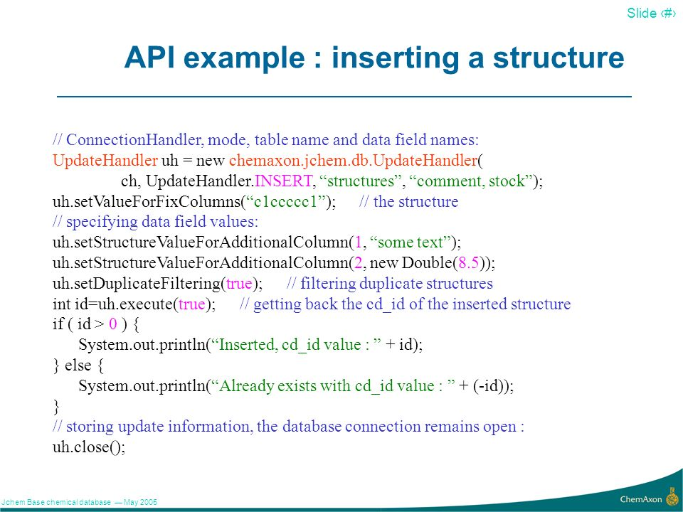 API example : inserting a structure
